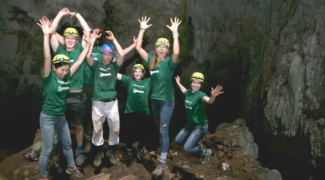 A group of volunteers prepare for a bat survey in a cave during Conservation volunteering in Costa Rica.